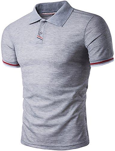 Whatlees Herren Basic kurzarm Poloshirts Hemd Shirts in verschiedene Farben B477-Grey