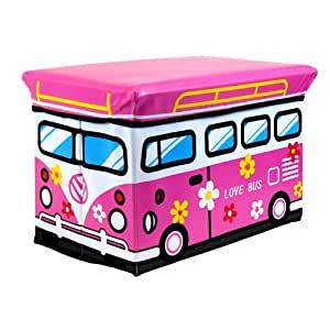 Kids Childrens Large Storage Seat Stool Toy Books Clothes Box Pink love Bus or school bus