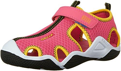 Geox J WADER GIRL A, Mädchen Sneakers, Mehrfarbig (FUCHSIA/YELLOWC8063), 35 EU