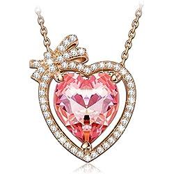 """NINASUN """"Enamorado"""" Plata Rosa Roja Cristales de SWAROVSKI® Oro de Rose Plateado Collar Mujer"""
