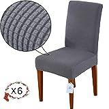 LUOLLOVE Stuhlhussen, Stretch Abnehmbare Waschbar Stuhlbezug für Esszimmerstühle,Stretch Stuhl Mit Gummiband für Esszimmer(6er,Grau)