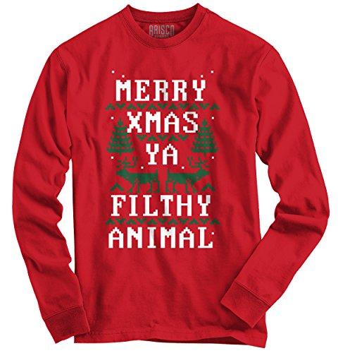 Camisa Divertida con Texto en inglés «Merry Xmas Filthy Animal» | Bonita Idea de Regalo de Santa de Manga Larga