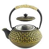 HwaGui-Asiatisch Gusseisen Teekanne Gold mit Sieb Infuser für Losen Tee, Teebeutel, 600ml