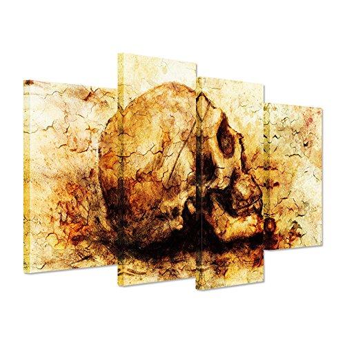 Hello Kunstwerk-Vintage Leinwand Abstrakte Kunstdruck Skull Head auf Gelb Hintergrund Menschliches Skelett Bild Kunstdruck auf Leinwand Modern Home Decor gespannt und gerahmt fertig Zum Aufhängen
