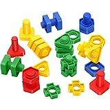 Tatuo 46 Stück Jumbo Muttern und Schrauben Spielzeug, Muttern und Schrauben Feinmotorik Formen BAU BAU Spielzeug Set Lernaktivitäten