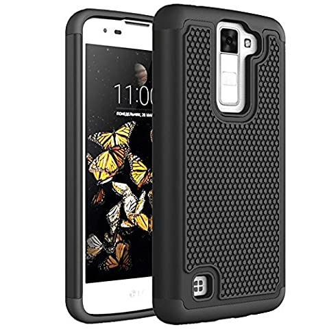 LG K8 Case, LG Escape 3 Case, FIREF1SH 2 in 1 Soft Silicone+PC Hybrid Dual Layer Armor Case Shock Absorbing Impact Resistant Protective Cover For LG K8/LG Escape 3/LG Phoneix 2 -Black