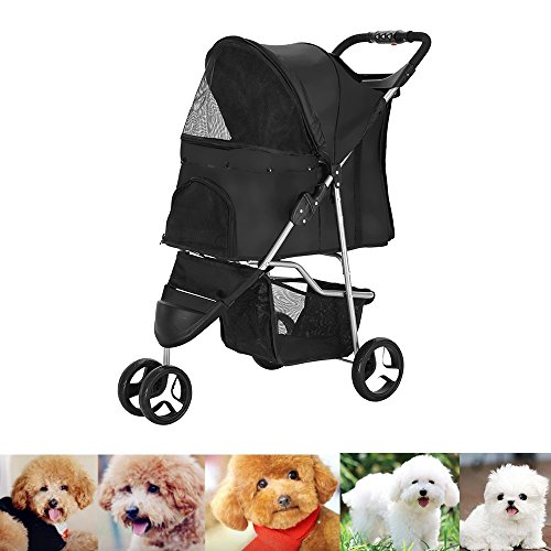 Upgraded Dog Puppy Cat Pet Travel Stroller Pushchair Pram Jogger Buggy Swivel Wheels (3 Wheels, Black)