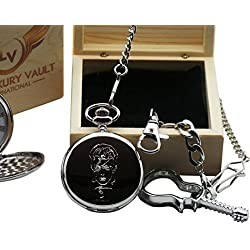 David Bowie Signed Pocket Watch Silver Plated and Glass Guitar Keyring Luxury Gift Set Wooden Box