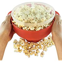 Silicone Bucket Microwave Popcorn Popper Bucket With Lid Popcorn Maker Popcorn Bowl For Home Party,Red