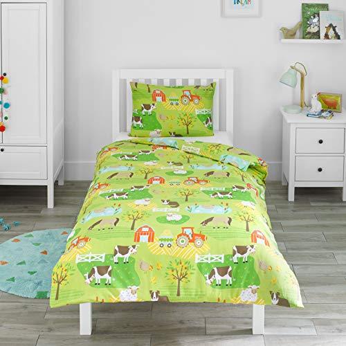 Bloomsbury Mill - Bauernhof - Traktor & Bauernhoftiere - Bettwäscheset für Kinder - Bettbezug 135cm x 200cm und Kissenbezug für Einzelbett