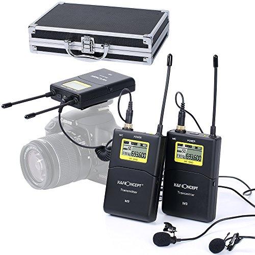 K&F Concept M9 100-Kanäle Doppelkanal UHF Kabellos Lavalier Mikrofon Wireless Funkmikrofon Set mit 2 Sender 1 Empfänger für Interviews ENG EFP DV DSLR videokamera mit 3,5 mm Klinkenstecker