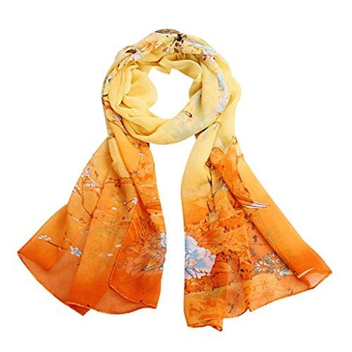 Bufandas para Mujer,Xinan Bufandas Gasa Suave Mantón Cuello Grande (Amarillo)