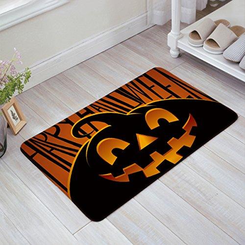 BULING Custom Fußmatte Halloween Thema Evil Kürbis Muster Innen Rutschfest Gummi Eingang Teppiche für Badezimmer 23.6x15.7