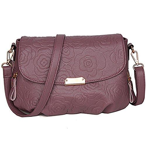 Moda donne di mezza età borsa da donna di grandi capacità di spalla borsa Messenger, viola Viola