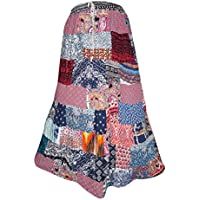 Mogul Interior Ladies Long Skirt Vintage Patchwork Rayon Boho Gypsy Large
