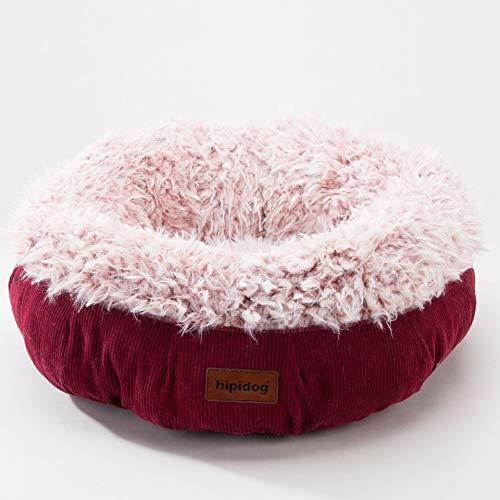 EgBert Cozy Solid Fleece Round Pet Bed Anit-Skip Pet Dog Basket Kennel Cat Dog Bed for Medium and Samll Dogs Padding Mat Cat Basket - Rot - L -
