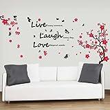 -Adesivi da parete con fiori e farfalle citazione'Live Laugh Love decorazione murale Art Home DIY Living camera da letto ufficio Décor Wallpaper Kids Room Gift, multicolore