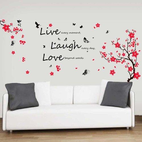 """-Adesivi da parete con fiori e farfalle citazione""""Live Laugh Love decorazione murale Art Home DIY Living camera da letto ufficio Décor Wallpaper Kids Room Gift, multicolore"""