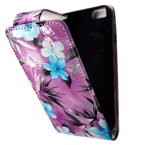 GSDSTYLEYOURMOBILE {TM} APPLE IPHONE 5 5S VARIOUS DESIGN CARD POCKET HOLDER PU LEATHER BOOK FLIP CASE COVER POUCH + STYLUS BLUE FLOWER ON PURPLE FLIP