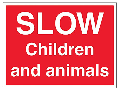 VSafety Slow, Children And Animals Sign - Landscape - 400mm x 300mm - 1mm Rigid Plastic