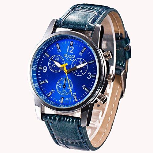 JiaMeng Relojes Pulsera Relojes de Pulsera de Lujo del Reloj de Imitaci¨n de Cuero del cocodrilo de la Moda de Lujo para Hombre(Azul)