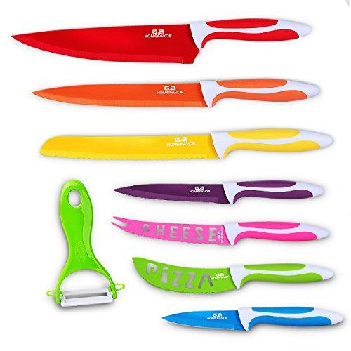 GA Homefavor Multifunktions 7-teiliges Küchenmesser Buntes Messer-Set mit Sparschäler