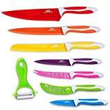GA Homefavor Set 7 Coltelli Professionali da Cucina Pelapatate Colorati Acciaio Inox