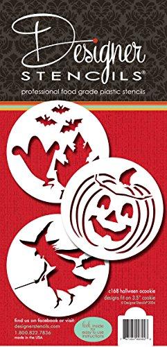 Designer Schablonen C168Halloween Cookie Schablonen (Hexe-Halloween-Kürbislaterne-Ghosts), beige/halbtransparent (Cookies Ghost Halloween)