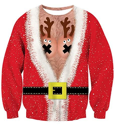 uideazone Unsiex Ugly Christmas Jumper 3D Gedruckt Weihnachten Pullover Sweatshirt Xmas Langarmshirt (Christmas Hirsch, L)