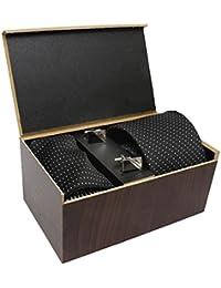 COCO CHANEL Unisex Silk and Cotton Necktie, Pocket Square, Cufflinks Tie_SMR_2_Free Size_Black