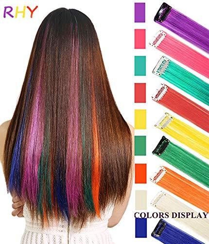 RHY 9 piezas partido destacado colorido piezas cabello