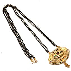 Jewar Mandi Gold Plated Mangalsutra chain Pendant real look katori south indian pendant 7704 For Women