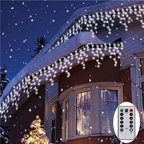 3M Eisregen Lichterkette Batterienbetrieben Lichtervorhang Weihnachten Lichter Außen Innen Deko für Garten Party Hochzeit Strombetrieben(Weiß) -