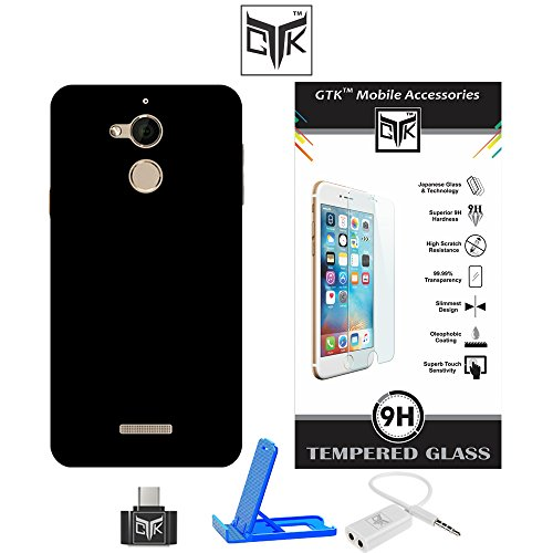 Coolpad NOTE 5 Super Value Combo of Ultra Thin Premium Matte Velvet Feel Hard Back Cover (Jet Black) + Premium HD Tempered Glass Screen Protector With Rounded Edges + OTG Adapter + Audio Splitter + Multi-Angle Adjustable Sleek Mobile Stand