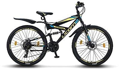 Licorne Bike Strong 26 Zoll Mountainbike Fully, geignet ab 150 cm, Scheibenbremse vorne und hinten, Shimano 21 Gang-Schaltung, Vollfederung, Jungen-Herren Fahrrad, mit Vorder- und Hinterschutzblech