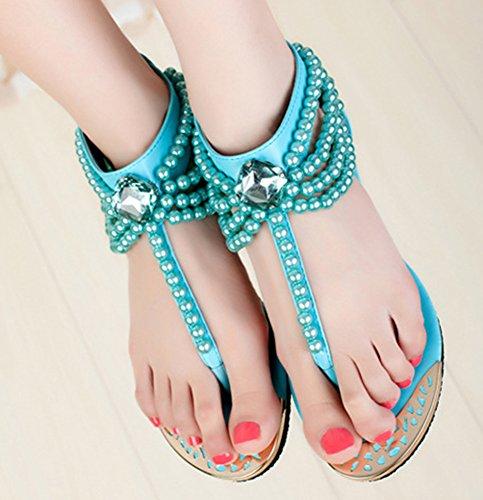 Aisun Damen Modisch Flats Künstliche Perlen Metall Zehe Strass Zehentrenner Blau