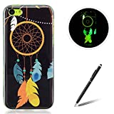 Feeltech for Apple iPhone 5C TPU Case Coque Housse Luminous Noctilucent Green Glow Soft Rubber Bumper Protective Cover Skin Shell Stylish Unique Colourful Pattern Feather Dreamcatcher