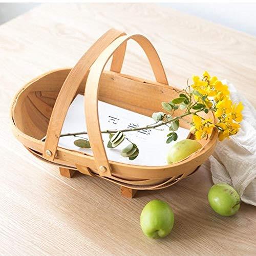 awhao Boot-förmigen handgewebten Holzkorb - Natural Wood Chip Woven Picknickkorb mit Griff, Blumenkorb Obst und Gemüse Ablagekörbe für handbemalte Möbel, Blumendekoration high-quality