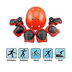 Idea Regalo - EarthSave Skateboard Casco Protezioni Set per bambini, protezione set Gomitiere polso ginocchiere per skate, Bicicletta, ciclismo, equitazione, Skateboard, Roller Skate, Rot