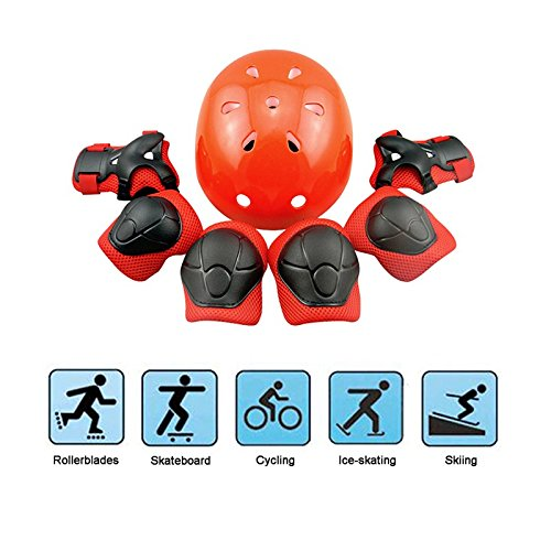 Kid's Skateboard Protective Gear Set, Roller Skating BMX Scooter Cycling Safety Pad Safeguard Gear Pads (Elbow Pads+Knee Pads+Wrist Guards+ Helmet) (Red)