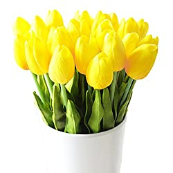 Turelifes Künstliche Tulpen Single Stiel Real Touch Pu Tulpen Flora Arrangement Bouquet Home Decor 10pcs Gelb