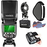 Neewer® 2.4G Wireless 1/8000s HSS TTL Master/Slave Flash Speedlite for Sony Camera with New Mi, Contains: NW880S Flash N1T–PLUG, Small Soft Box Flash type holder 16x 16inch Pack of 20Colour Filter