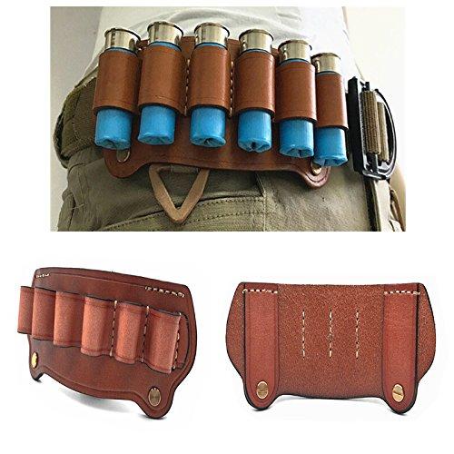 HWZ Tactical Cowhide Leather Hunting Rifle Magazine Pouch 6 Shots 12 Gauge Ammo Bag Shotgun Shell Holder Cartridge Belt -