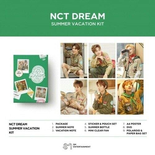 NCT DREAM-[2019 Summer Vacation Kit DVD+12p Poster/On+80p SummerNote+80p Vacation Note+Sitcker&Pouch+Frame&Film Set+Summer Bottle+Mini Clear Fan+Tracking