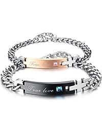 mendino True Love Buchstaben silber kubanischen Gliederkette Armband 2PCS Versprechen Charm Paare Jahrestag Geschenk zum Valentinstag