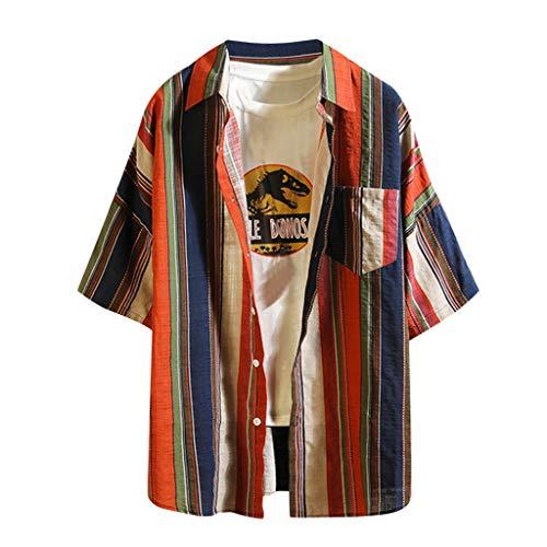Xmiral T-Shirt Herren Halber Ärmel Gitter Streifen Dünn Outwear Shirt Hemd Herren Hemd Kurzarm Langarm Kariert Sommer Freizeit Men´s Shirt(b Blau,M)