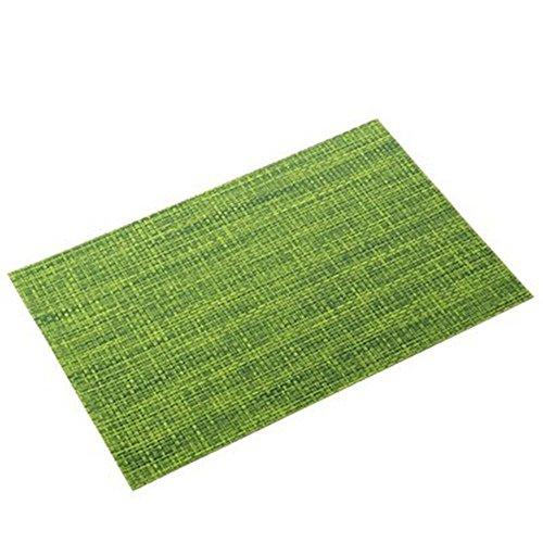 Platzsets, CAMAL Einfachheit PVC Weave Tischsets Anti-Rutsch Wärmedämmung Tischmatte, Vier Farbe Erhältlich (8er Set, Grün) (Einfachheit Besteck Set)