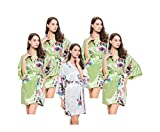 Set of 5 Hen Party Getting Ready Robes, OSFM, Lightweight, Short & Flirty, Wedding Dressing Gowns for Bride/Bridesmaids, 4 Light Pear Green & 1 White Satin Peacock Kimono Robes