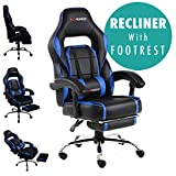 GTFORCE PACE RECLINING SPORTS RACING GAMING OFFICE DESK PC CAR LEATHER CHAIR (Blue) - Best Reviews Guide