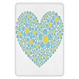 VTXWL Bathroom Bath Rug Kitchen Floor Mat Carpet,Yellow and Blue,Heart Shape Full of Cute Daisy Flowers Romantic Valentines Wedding,Light Blue Marigold,Flannel Microfiber Non-Slip Soft Absorbent
